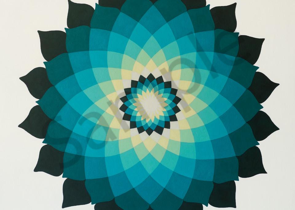 Turquoise Lotus Mandala Art | FireFlower Art