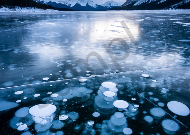Frozen methane bubbles at Spray lake for sale as fine art