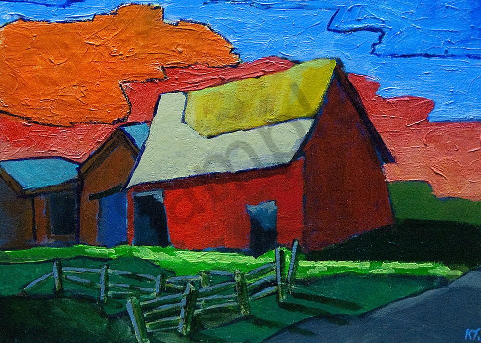 Red barn orange sky
