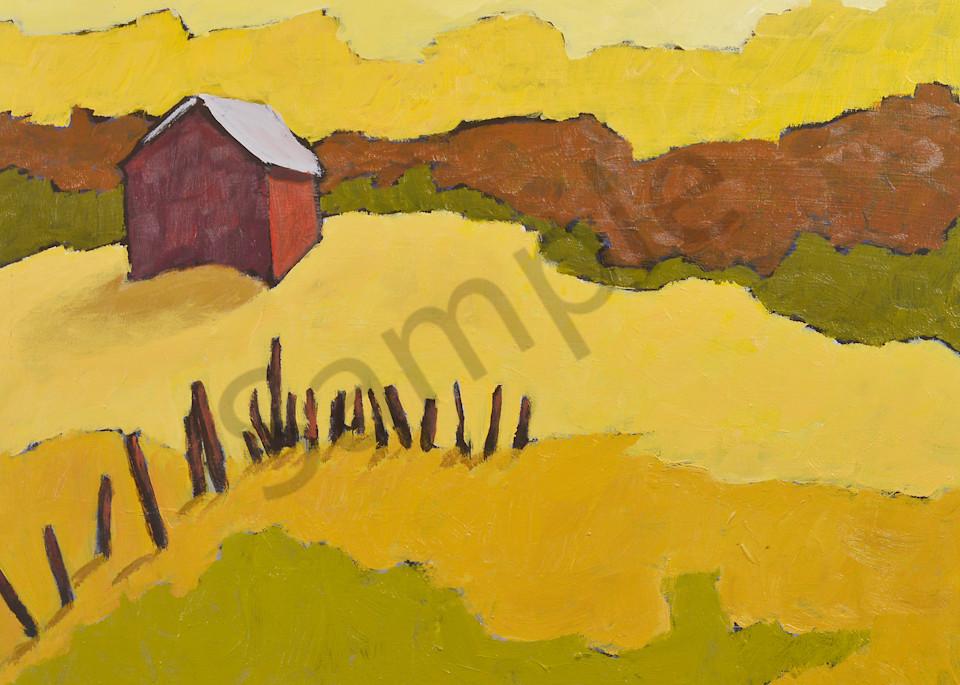 Lone Barn In Golden Fields  Art   Keith Thirgood