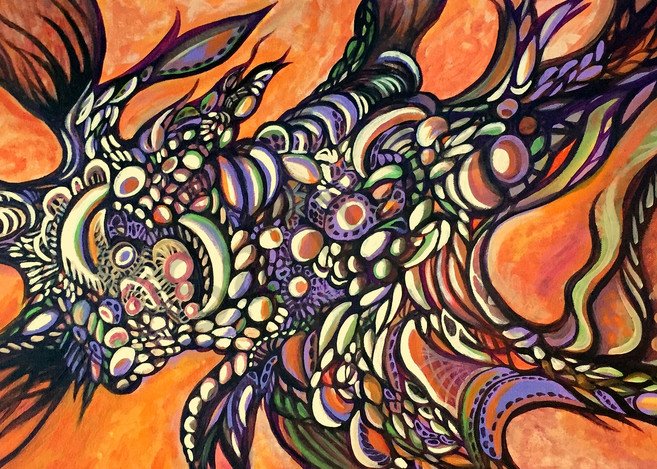 Fungal Frenzy - Unique Aboriginal Abstract acrylic painting in orange color composition