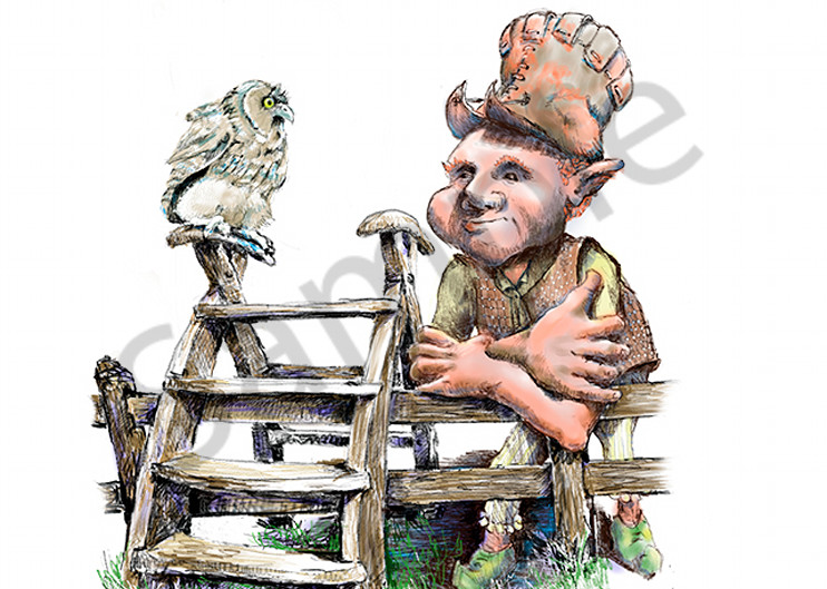 Emerson Leaning On Fence With Owl Art | Digital Arts Studio / Fine Art Marketplace