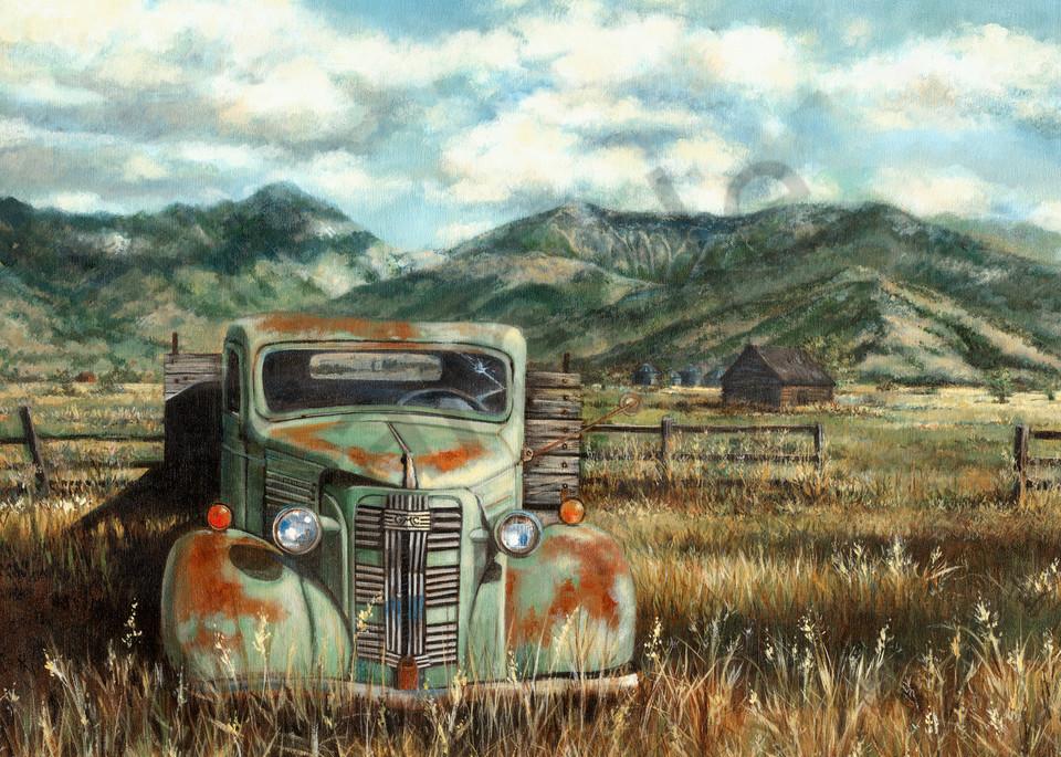 BRIDGER GMC, green gmc, pickup truck,. print, reproduction, bridger mountains