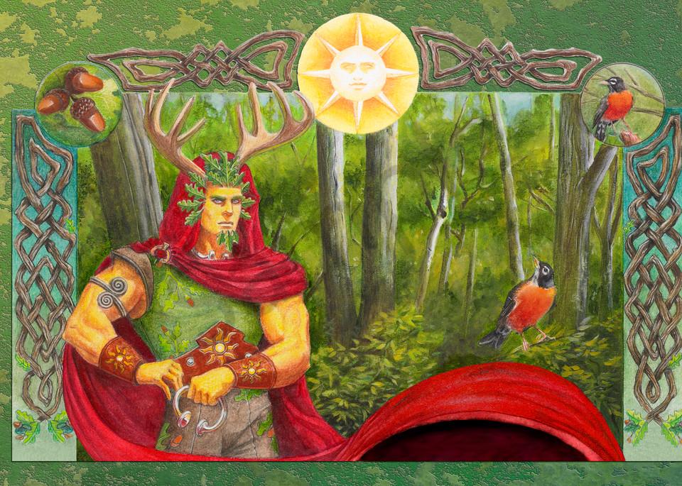 The Oak King Detail Art | Melissa A Benson Illustration