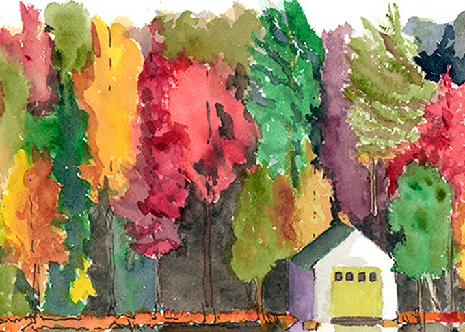 Boathouse In Fall Art | Digital Arts Studio / Fine Art Marketplace