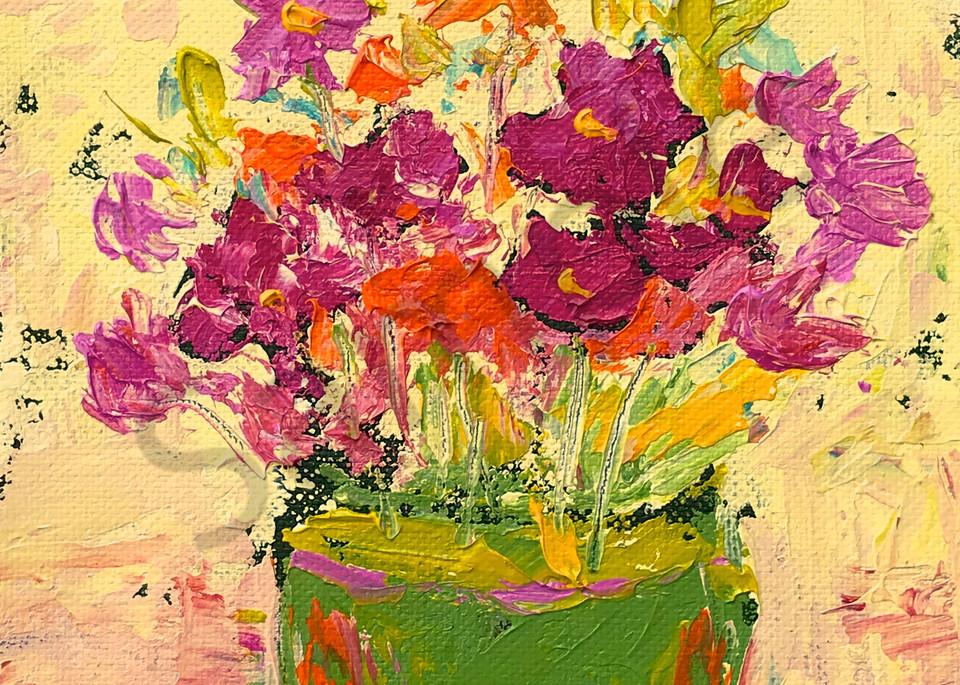 Pink & Orange Wispy Flowers by Claudia True