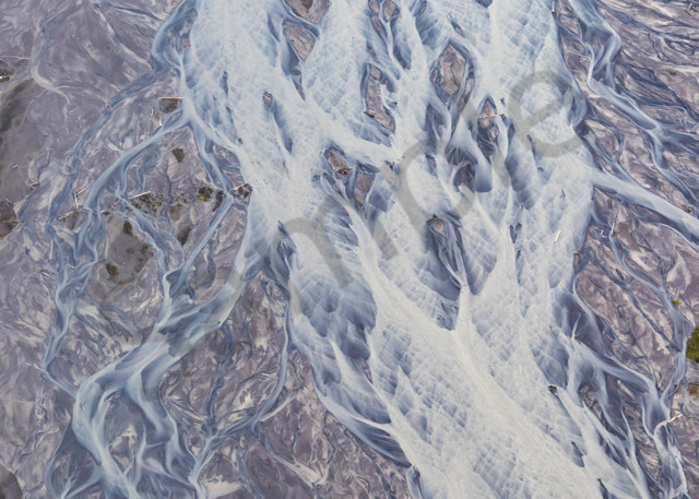 Glacial river flow from the air