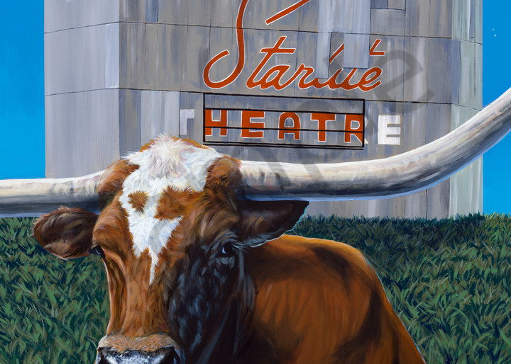 Longhorn and drive-in theater painting