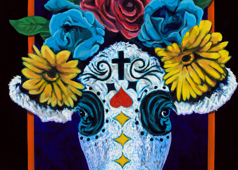 Original painting of a cow head inspired by Dias de los Muertos, available as art prints.