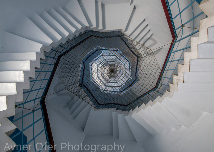 Abstract spiral dual staircase