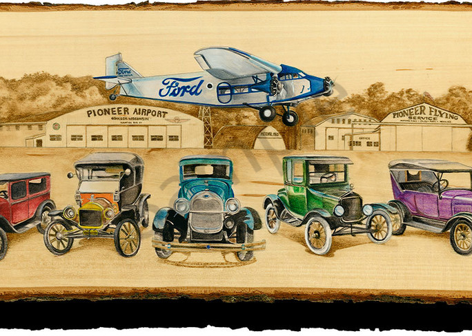 """""""Old Tin Goose and Rainbow Fords"""" print form cut out by Emily Willey."""