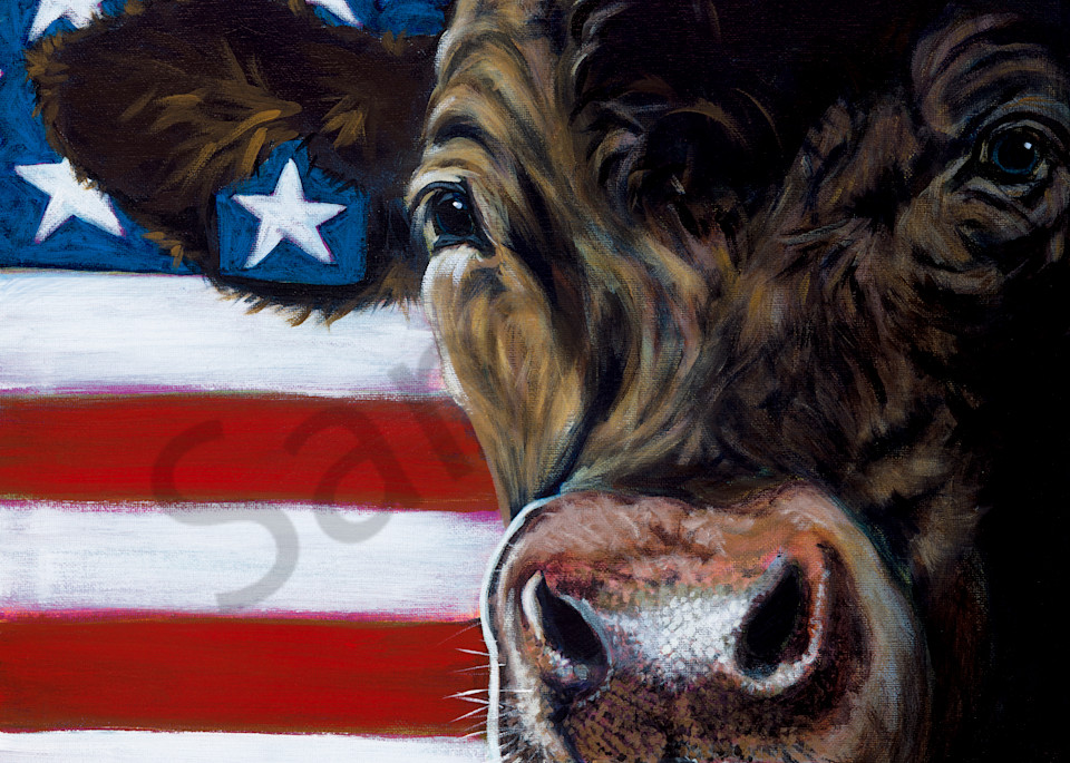 Cow and flag paintings by John R. Lowery, for purchase as art prints.