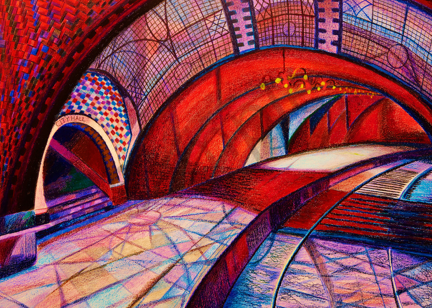 THE RED ARCH OF THE UNDERGROUND NYC HALL SUBWAY PLATFORM