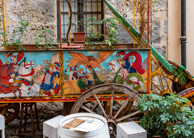 Sidewalk Cafes, Historic District, Art, Palermo, Sicily, Italy