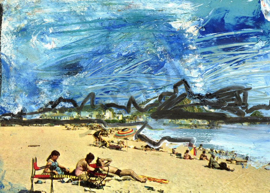 Take closer look at this contemporary beach scene.
