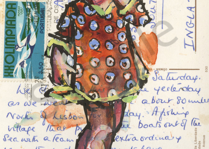 Take a look at this watercolor painting I created on an old written postcard.
