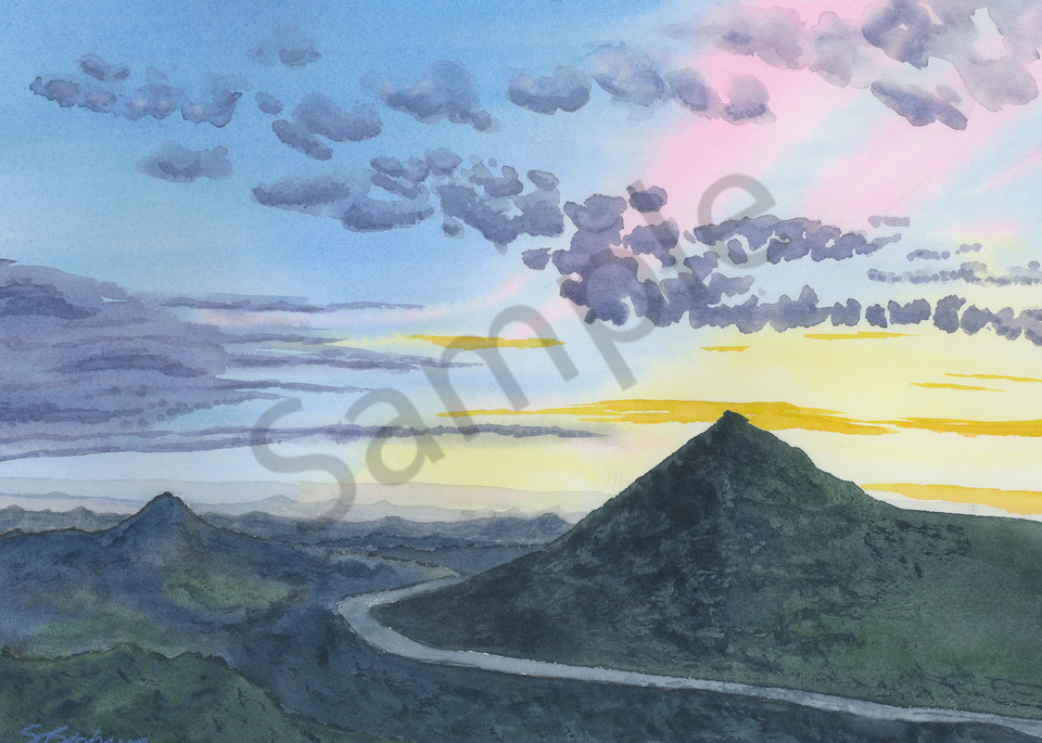 Sunset View from Valley Center - Watercolor Painting 2018