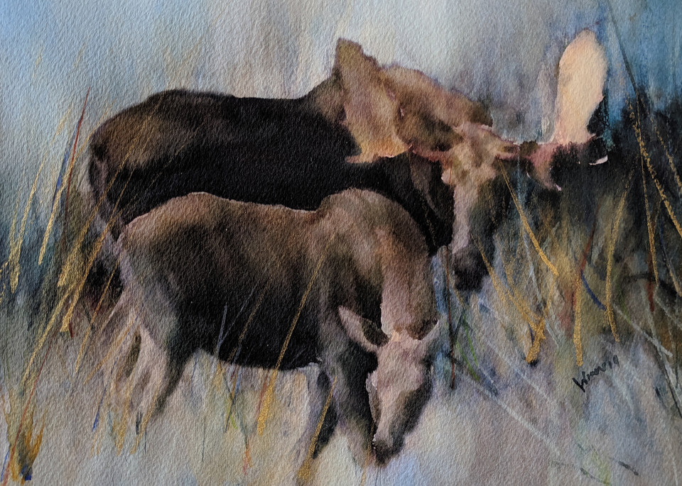 """""""Moose And Calf"""" by New Mexico Artist Penny Winn 