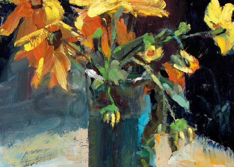 Yellow Flowers in Green Vase