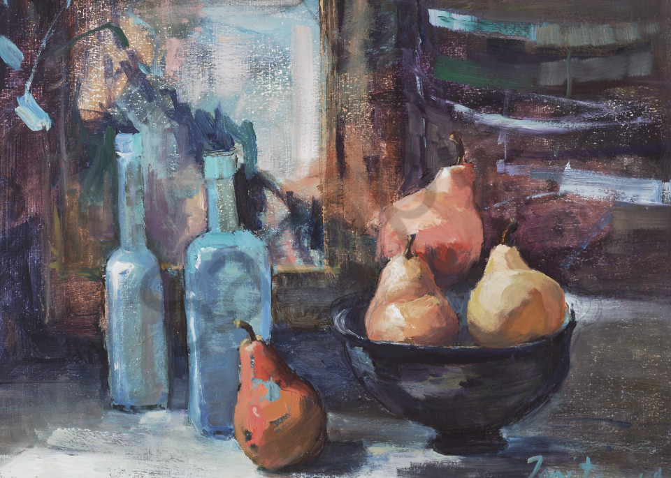 Blue Bottles And Pears Art | Toni Danchik Fine Art