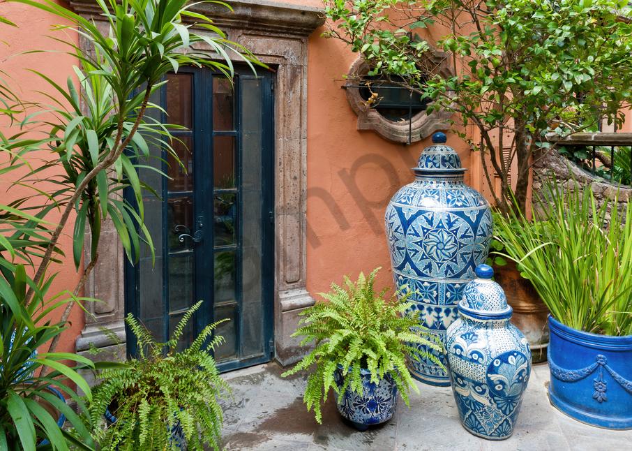 Art Print San Miguel De Allende Mexico Garden Pottery