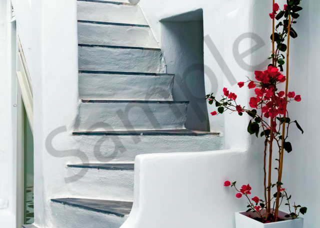 Art Print Mykonos Greece Simple with Red