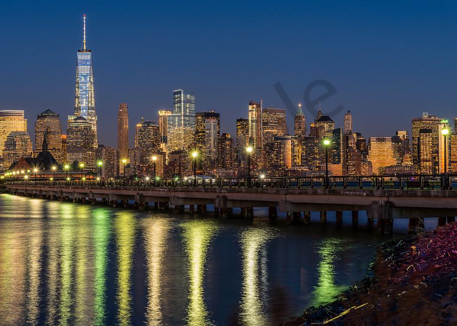 Reflections of Manhattan skyline