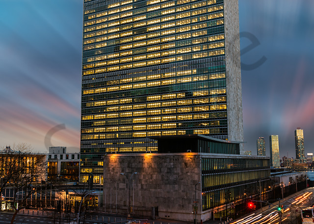 Light trails near United Nations