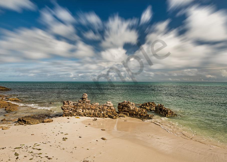 Clouds streaking over ocean