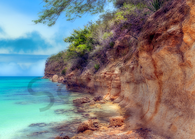 Cliff side in Antigua, West Indies