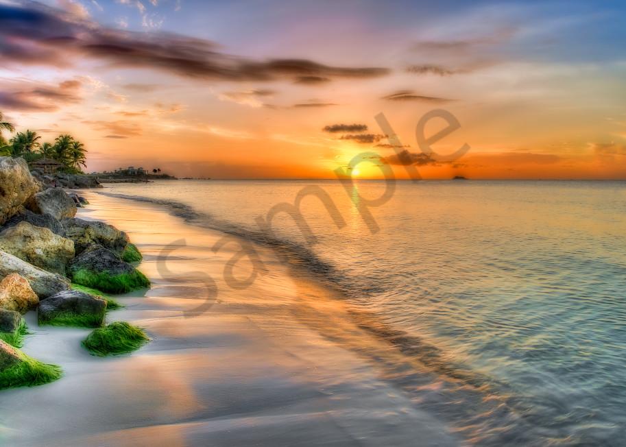 Beach sunset in Antigua, West Indies
