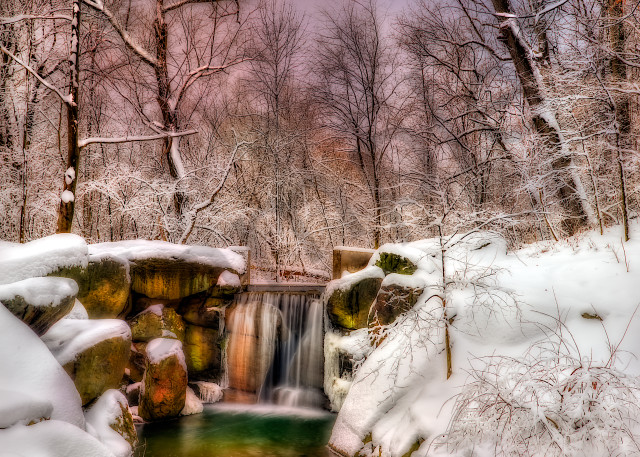 Central Park waterfall in the winter