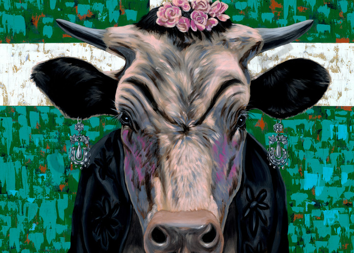 Colorful cow as Frida Kahlo painting by Texas artist, John R. Lowery, available as art prints.