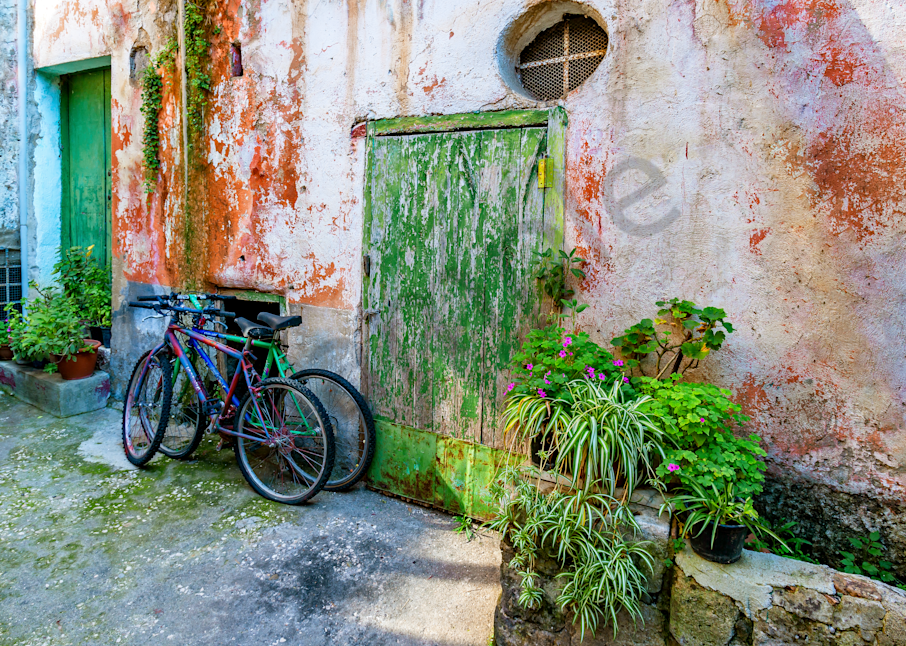 Bicycles And Courtyard Photography Art   Images by Louis Cantillo