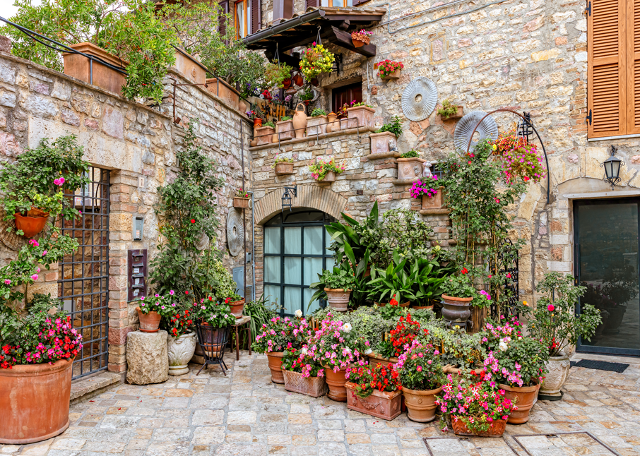 Art Print Assisi Italy Colorful  Courtyard