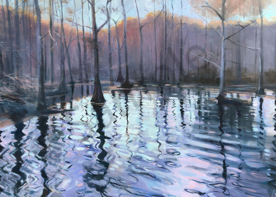 Cypress Lake (From The Open Spaces Series) (Original Sold) Print Available Art | Adam Benet Shaw Studios