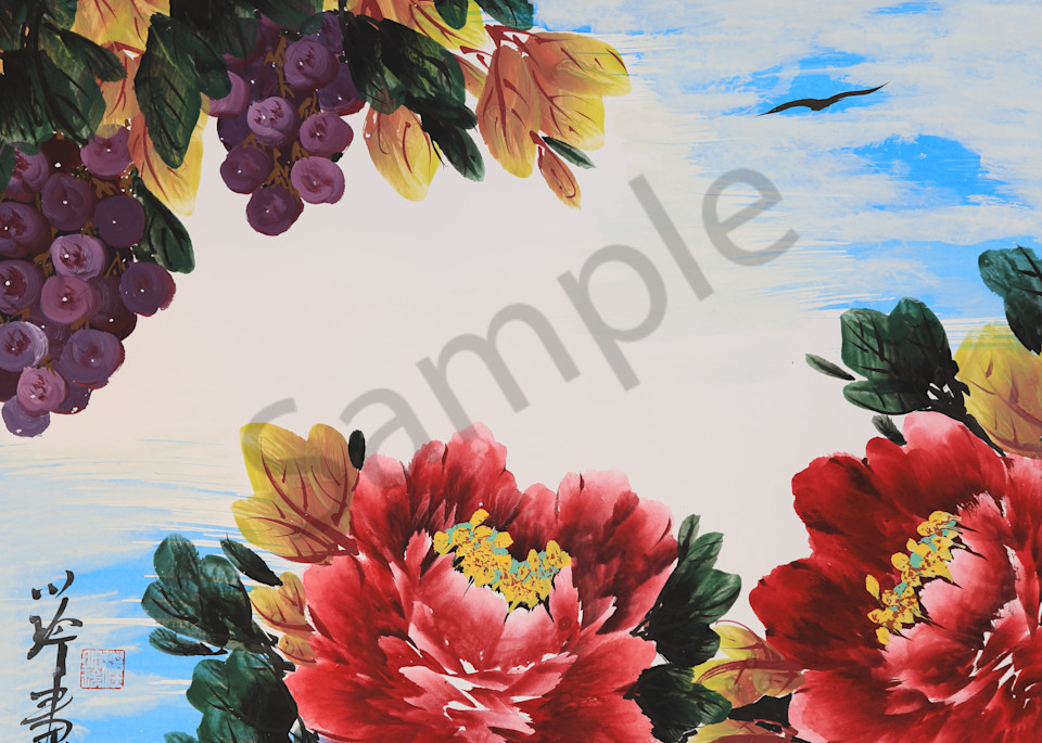 Red Peony and Grapes