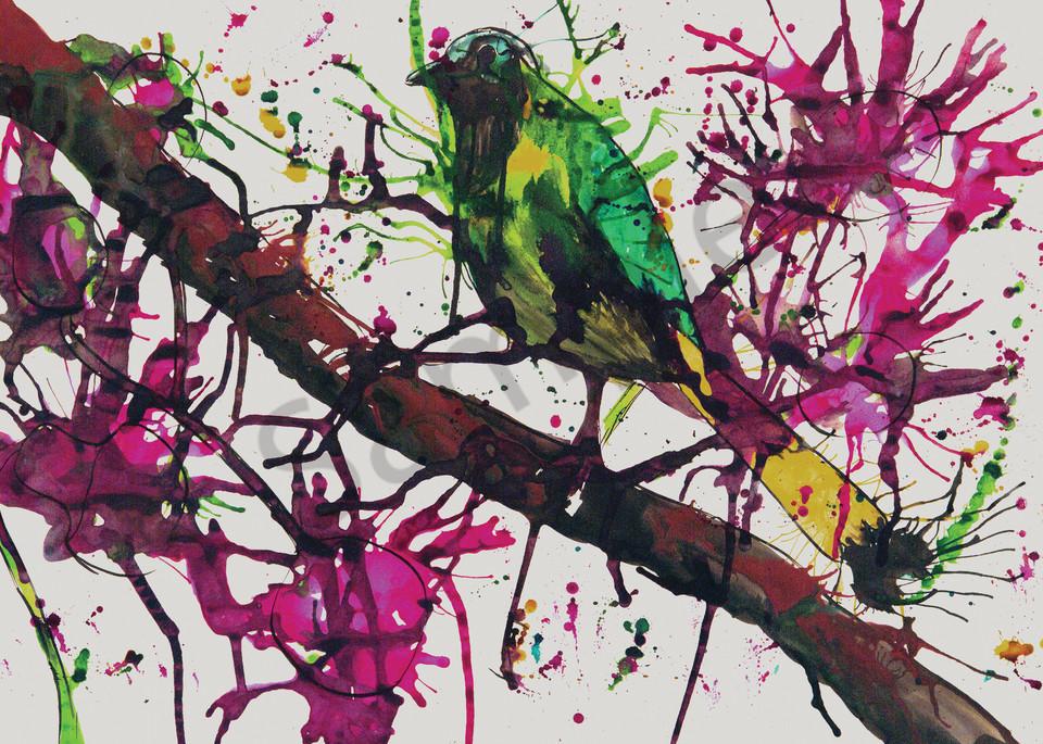 """Bird On A Branch"" by UK Artist Rachel Oxborough | Prophetics Gallery"
