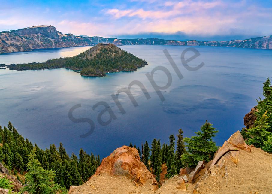 Print Art Crater Lake Oregon Deep Blue