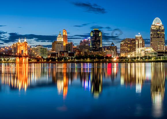 Cincinnati At Blue Hour Art | Cincy Artwork