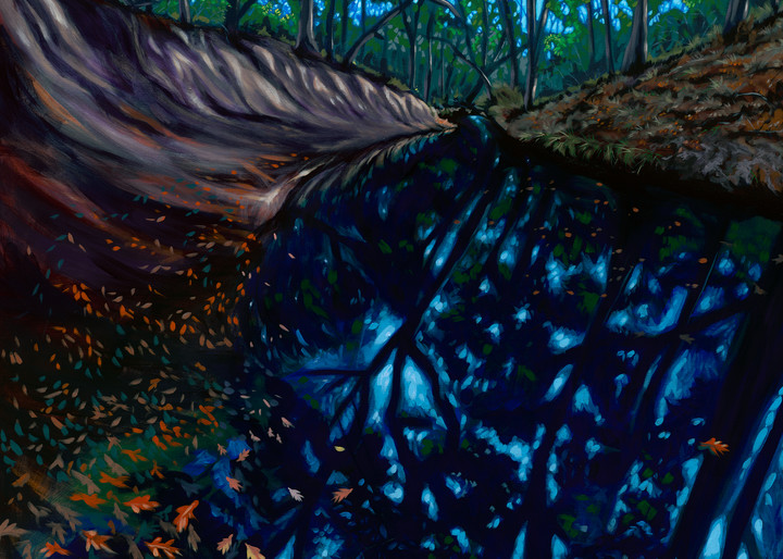Original painting of a Texas creek bed with falling leaves, available as art prints.
