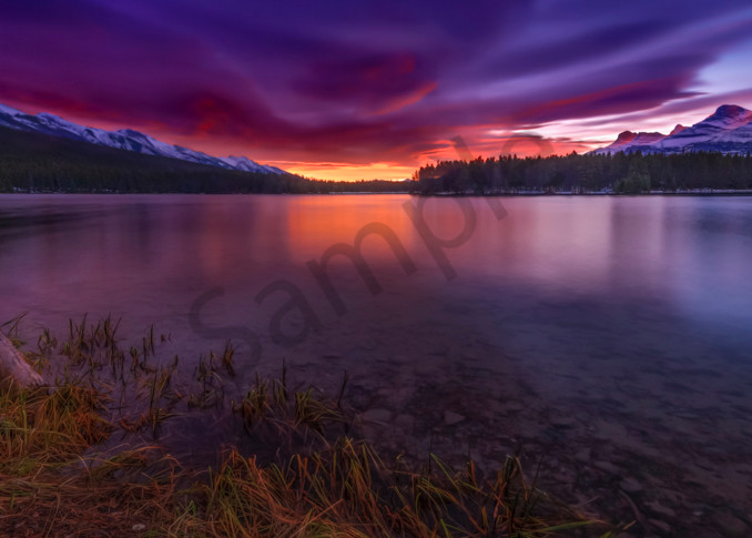 Two Jack Lake reflects a sunrise in Banff National Park. Canadian Rockies|Rocky Mountains|