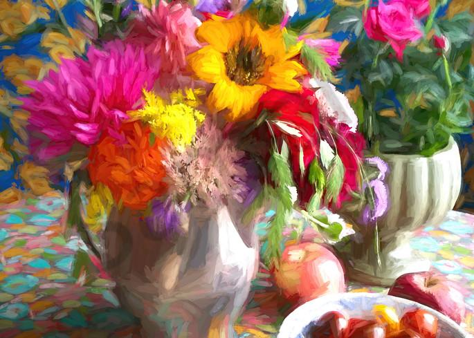 Still Life With Yellow Zinnia And Grape Tomatoes Art | smalljoysstudio