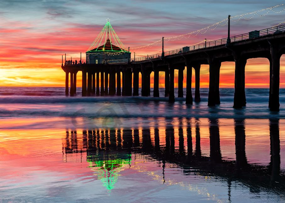 Print Art Manhattan Beach Pier Pier and Reflections