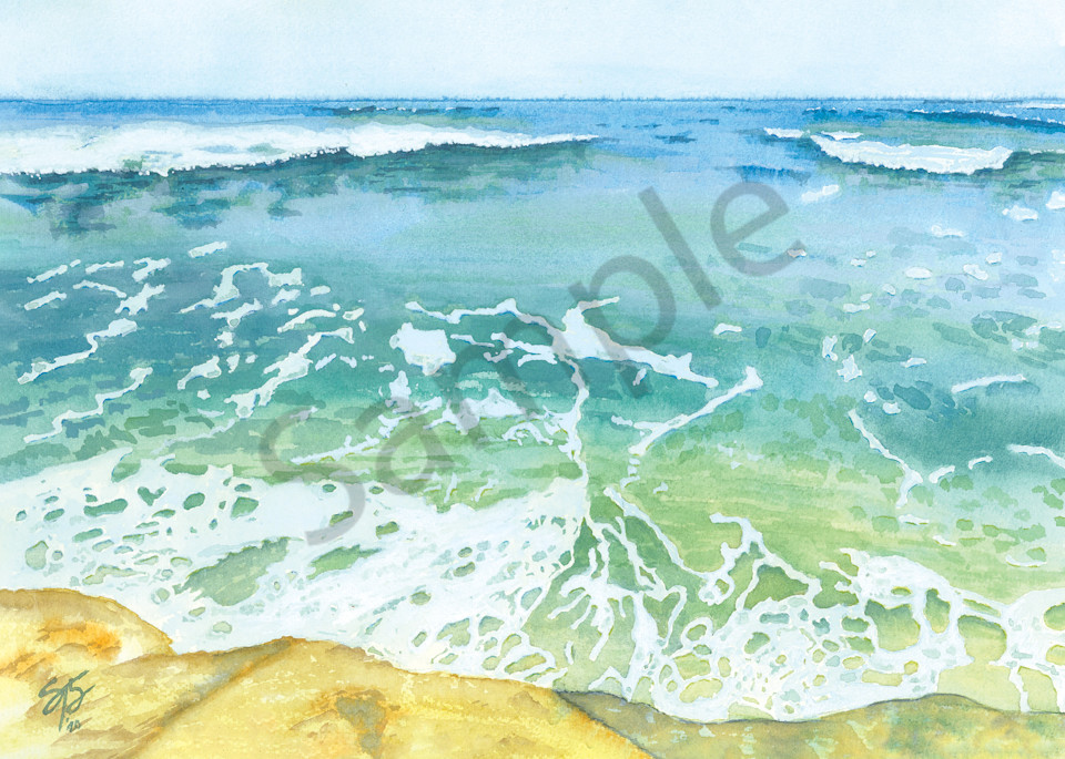 """Foamy Water Ocean Waves"" ~ watercolor painting reproduction"
