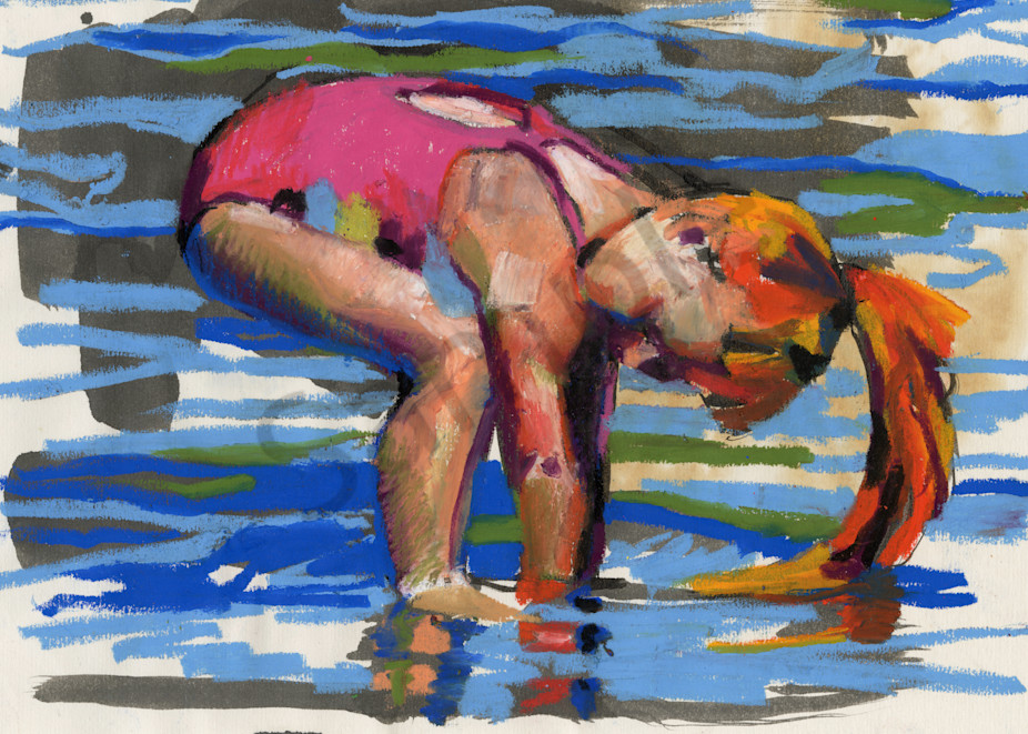 Fine Art Print of a Playing Girl in the Water