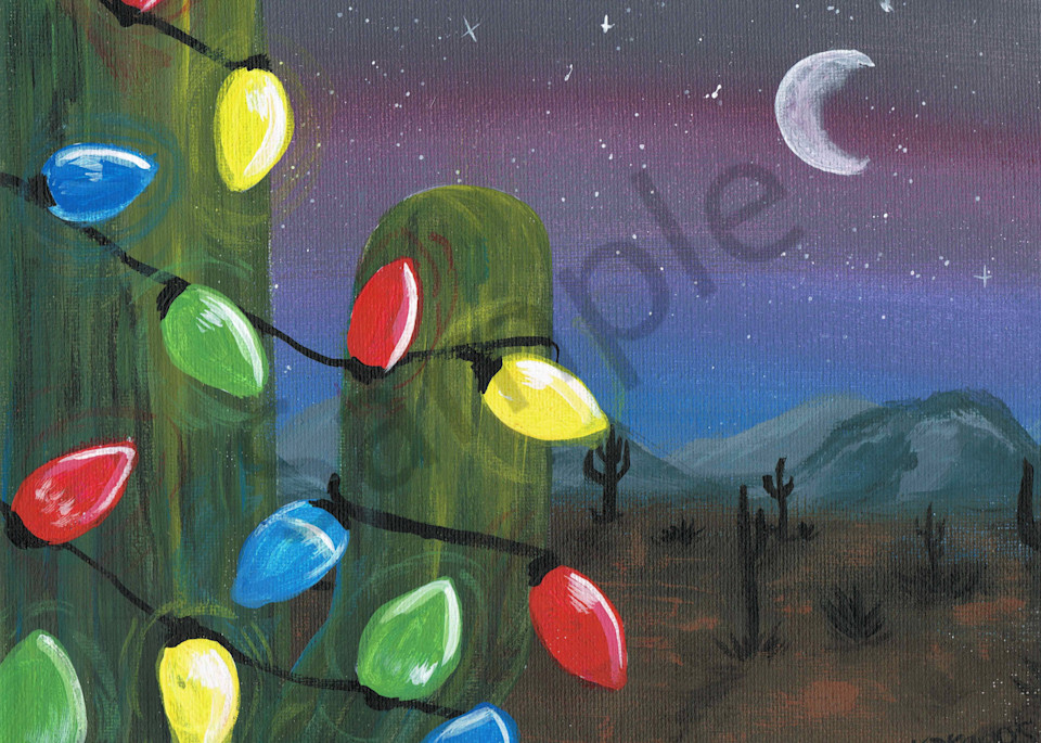 Festive Cactus Acrylic Painting