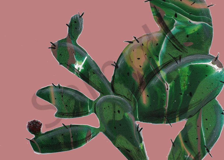 Prickly Pear in Pink Acrylic Fluid Art Painting Print