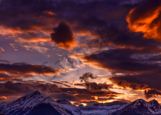 A fiery Rocky Mountain Sunset in Banff. Banff National Park|Canadian Rockies|Rocky Mountains|