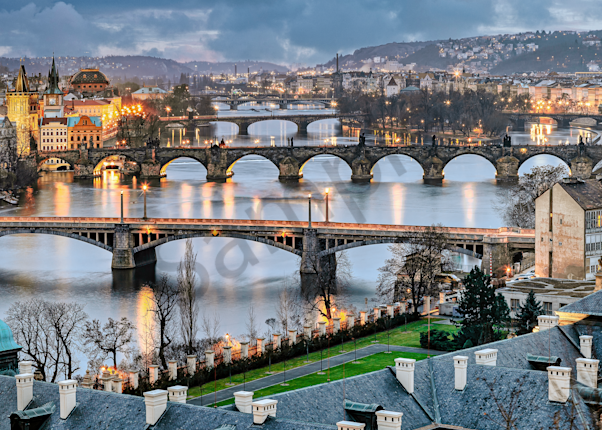 Print Art Prague The Czech Republic Bridges of Prague Panoramic